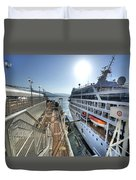 Alaskan Cruise Ship Berthed In Vancouver Duvet Cover