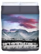 Alaskan Range At Sunset Duvet Cover