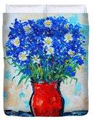 Albastrele Blue Flowers And Daisies Duvet Cover by Ana Maria Edulescu