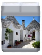 Alberobello Courtyard With Trulli Duvet Cover