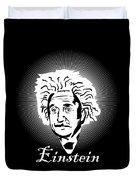 Albert Einstein Caricature On A White Glow Duvet Cover