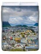 Alesund Norway Cityscape Duvet Cover