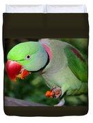 Alexandrine Parrot Feeding Duvet Cover