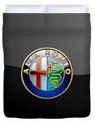 Alfa Romeo - 3 D Badge On Black Duvet Cover