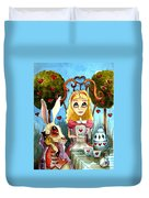 Alice And The Rabbit Having Tea... Duvet Cover by Lucia Stewart
