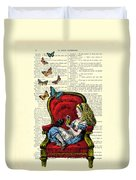 Alice In Wonderland Playing With Cute Cat And Butterflies Duvet Cover