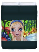 Alice Meets The Caterpillar Duvet Cover