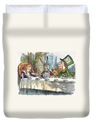 Alices Mad-tea Party, 1865 Duvet Cover