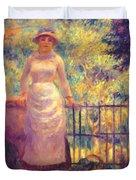 Aline At The Gate Girl In The Garden 1884 Duvet Cover