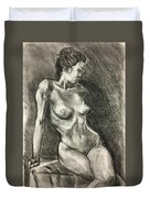 Alison Charcoal On Paper From Observation  Duvet Cover