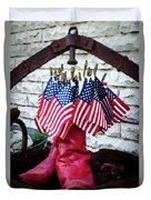 All American Flag And Red Boots - Painterly Duvet Cover