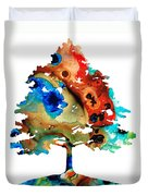 All Seasons Tree 3 - Colorful Landscape Print Duvet Cover