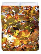 All The Leaves Are Red And Orange Fall Foliage With Sunshine Duvet Cover