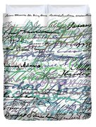 All The Presidents Signatures Teal Blue Duvet Cover