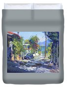 Alleyway By Lida's House Greece Duvet Cover