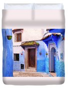 Alleyway In The Blue City Duvet Cover