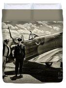 Allied Pilots Taking Stock Duvet Cover