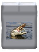 Alligator Catching And Cracking A Blue Crab Duvet Cover