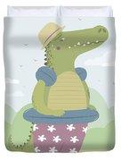 Alligator On The Beach Duvet Cover