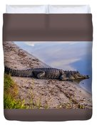 Alligator Warming In The Sun Duvet Cover