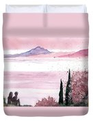 Almond Tree By The Sea Duvet Cover
