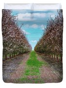 Almond Trees Of Button Willow Duvet Cover