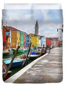 Along The Canal In Burano Island Duvet Cover