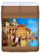 Along The Ghats, Mathura After Edwin Lord Weeks Duvet Cover
