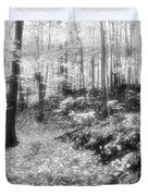 Along The Path Bw  Duvet Cover