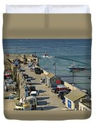 Along The South Pier - Newquay Harbour Duvet Cover