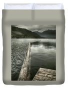 Along The Washington Coast - Dock, Breakwater, And Mountains Duvet Cover