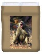 Alpha Baboon Yawning, Kruger Park Duvet Cover