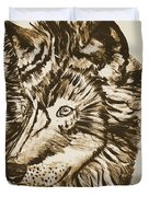 Alpha Male - The Wolf - Antiqued Duvet Cover