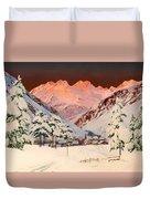 Alpine Mountain Scene Duvet Cover