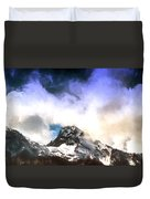 Alpine Mountains And Clouds Watercolour Duvet Cover