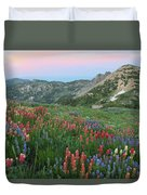 Alpine Wildflowers And View At Sunset Duvet Cover
