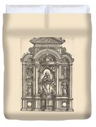 Altar With The Virgin And Child And Saints Christopher, Barbara, George And Catherine Duvet Cover