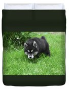 Alusky Puppy Stalking Through Tall Green Grass Duvet Cover