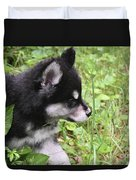 Alusky Puppy Tip Toeing Through Green Foliage Duvet Cover