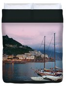 Amalfi Harbor Sunset Duvet Cover