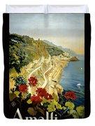 Amalfi Italy Italia Vintage Poster Restored Duvet Cover