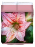 Amaryllis And Tree Frog Painted  Duvet Cover