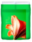 Amaryllis Head Pt Orange Amaryllis Flower On Green Background Duvet Cover