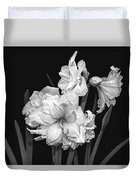 Amaryllis In Black And White Duvet Cover