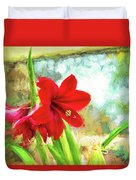 Amaryllis On  The Porch Duvet Cover