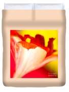 Amaryllis Shadow Abstract Flower With Shadow On Red And Yellow Duvet Cover