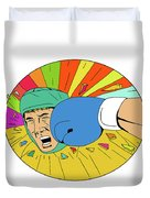Amateur Boxer Hit By Glove Punch Oval Drawing Duvet Cover