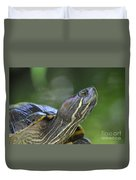 Amazing Close-up Painted Turtle Resting Duvet Cover