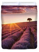 Amazing Lavender Field At Sunset Duvet Cover