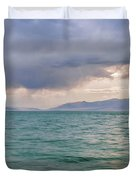 Amazing View Of Azure Sky Over Rippled Surface Of Cold Sea At Sunrise Duvet Cover
